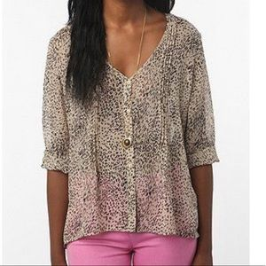 Pins and Needles Sheer Animal Print Blouse